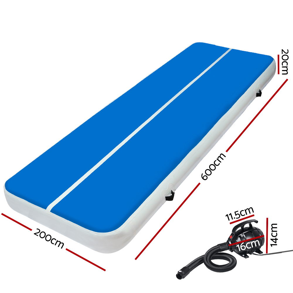 🥇 New Everfit 6X2M Inflatable Air Track Mat 20CM Thick with Pump Tumbling Gymnastics Blue ⭐+ Fast Free Shipping 🚀