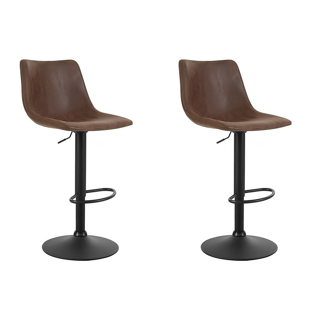 🥇 New Artiss 2x Kitchen Bar Stools Gas Lift Bar Stool Chairs Swivel Vintage Leather Brown Coated Legs ⭐+ Fast Free Shipping 🚀