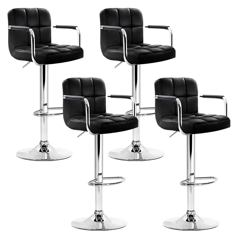 Artiss Set of 4 Bar Stools Gas lift Swivel Armrests - Steel and Black