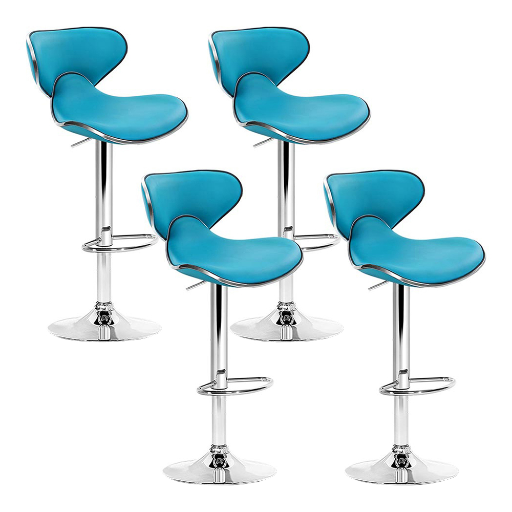 Artiss Set of 4 PU Leather Bar Stools - Teal Blue