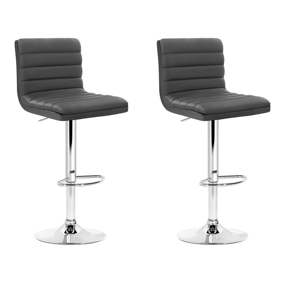Brand New Artiss 2x Gas lift Bar Stools Swivel Kitchen Chairs Leather Chrome Grey Fast Free Shipping