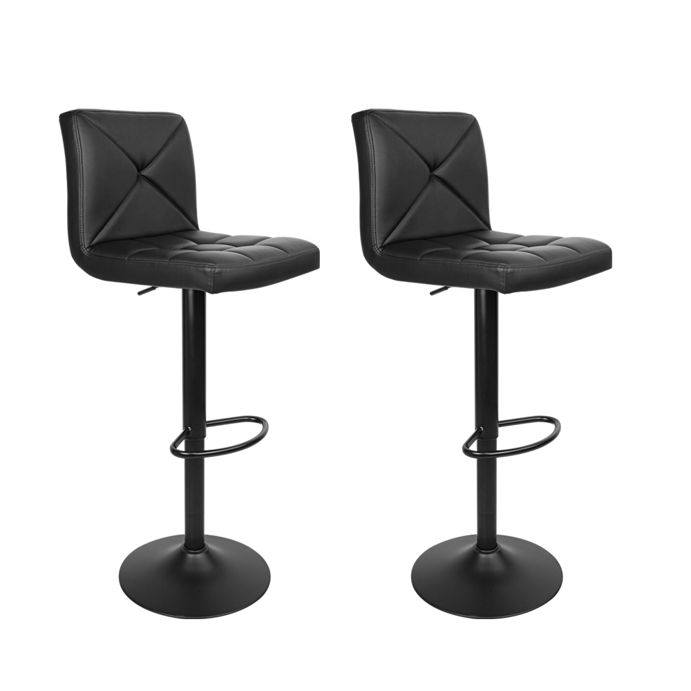 Brand New Artiss Set of 2 PU Leather Gas Lift Bar Stools – Black Fast Free Shipping