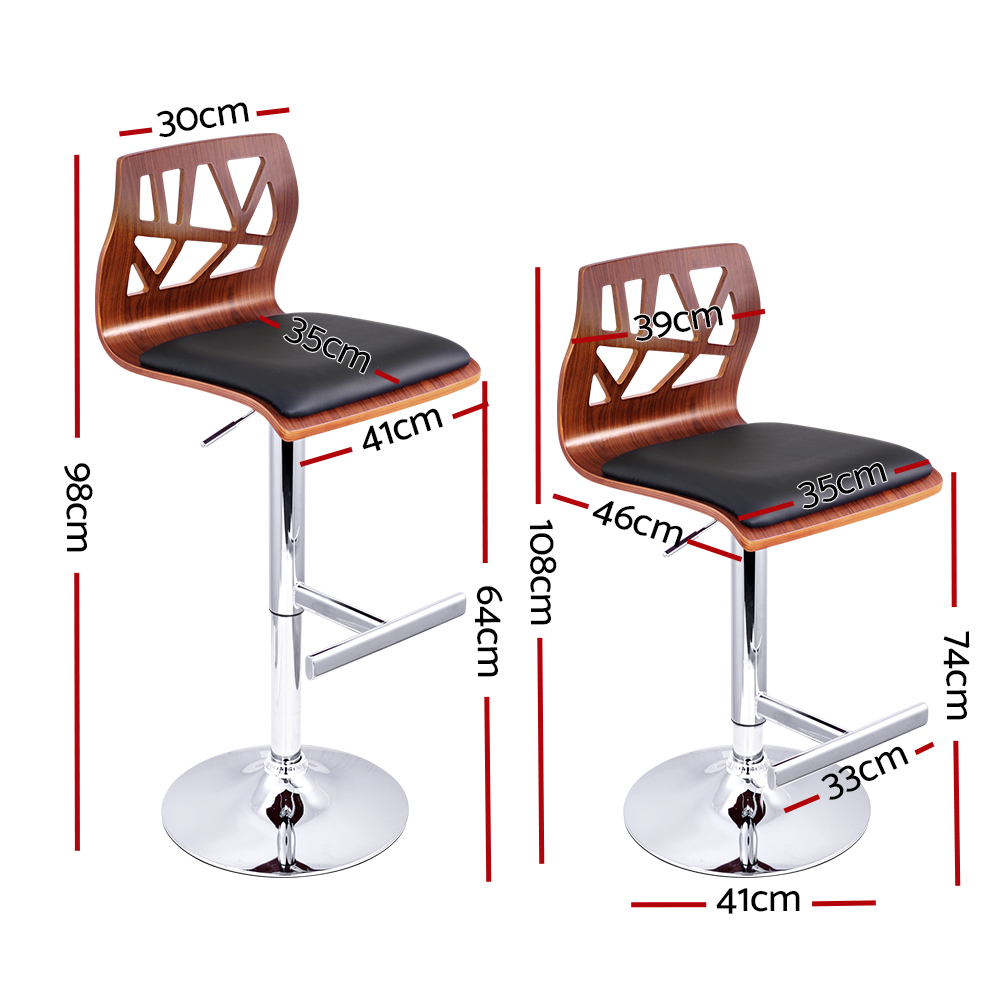 New Artiss Set of 2 Wooden Gas Lift  Bar Stools – Black + Fast Free Shipping