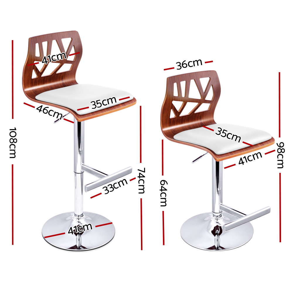 New Artiss Set of 2 Wooden Gas Lift  Bar Stools – White + Fast Free Shipping