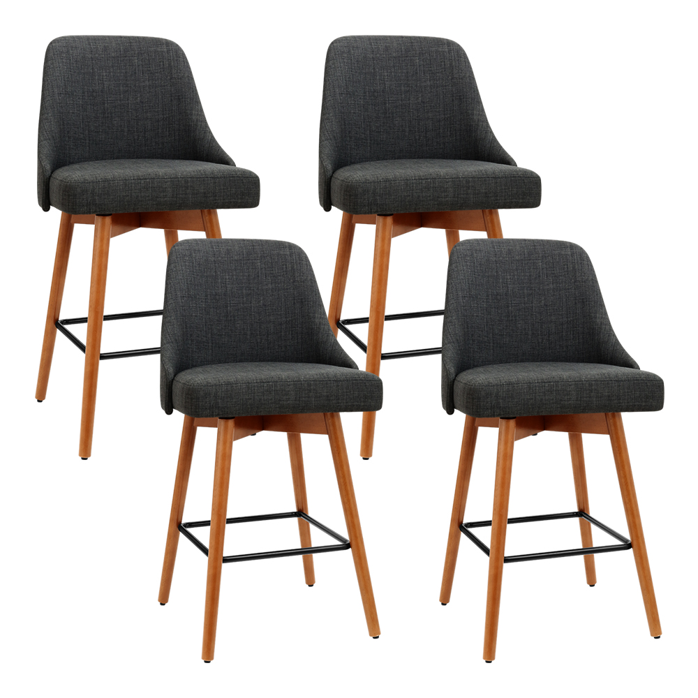 Artiss Set of 4 Wooden Fabric Bar Stools Square Footrest - Charcoal