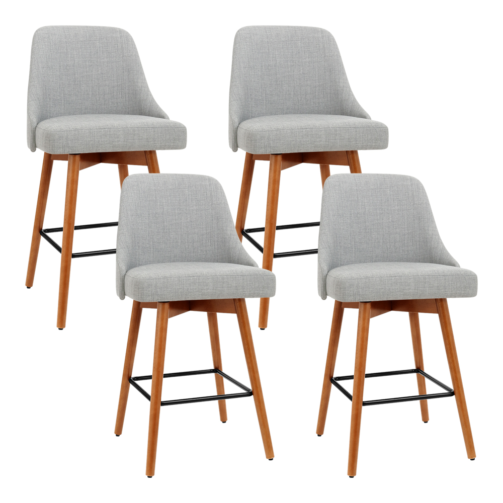 Artiss Set of 4 Wooden Fabric Bar Stools Square Footrest - Light Grey