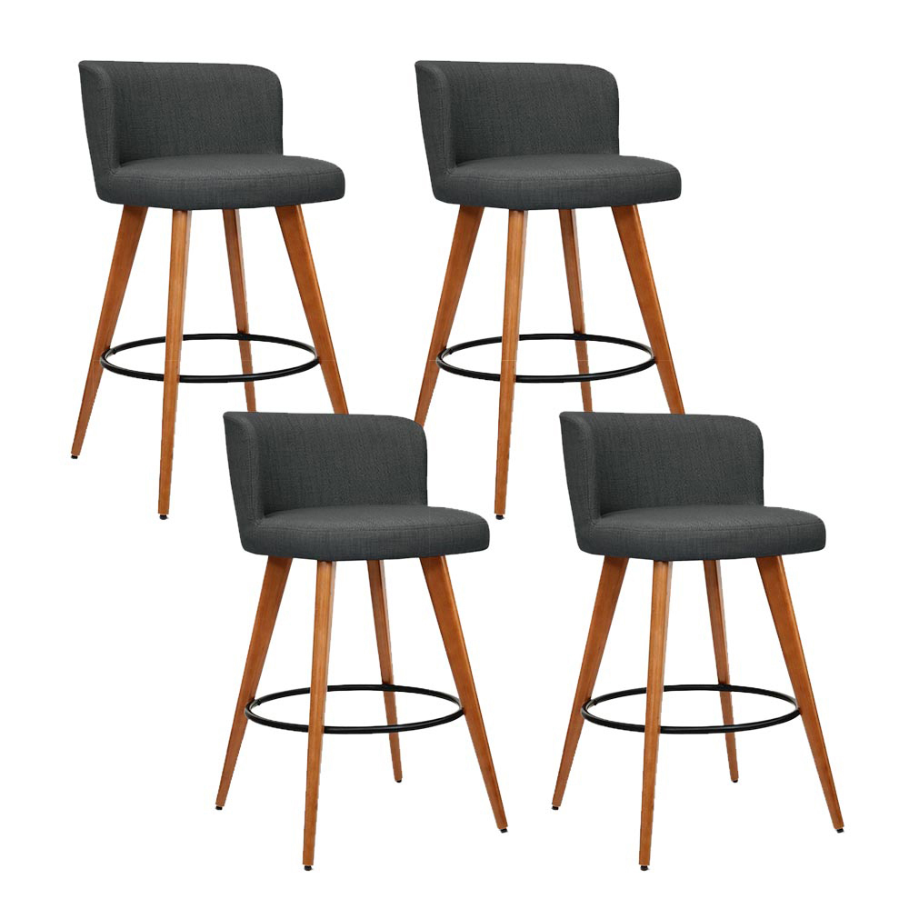 Artiss Set of 4 Wooden Fabric Bar Stools Circular Footrest - Charcoal