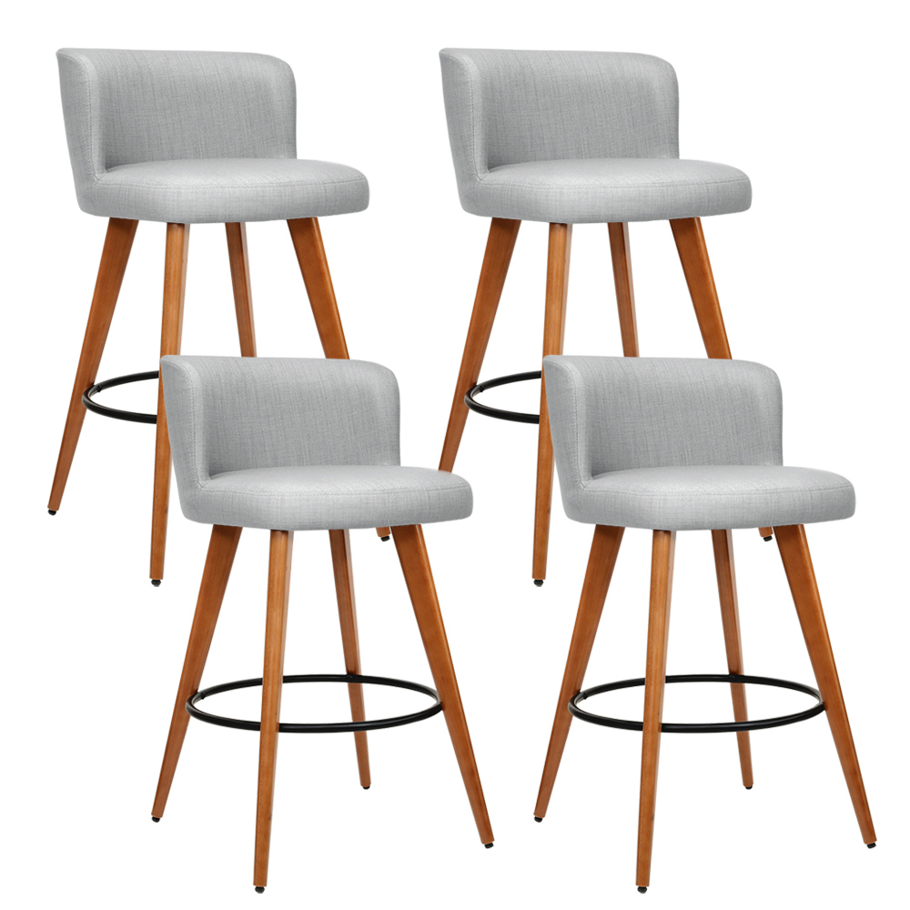 Artiss Set of 4 Wooden Fabric Bar Stools Circular Footrest - Light Grey