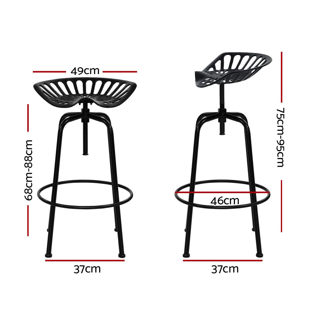 🥇 New Artiss 1x Kitchen Bar Stools Tractor Stool Chairs Industrial Vintage Retro Swivel Barstools Metal Black ⭐+ Fast Free Shipping 🚀