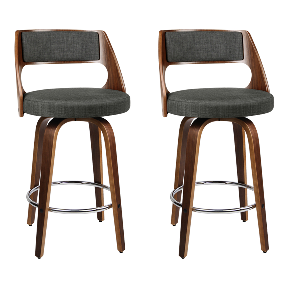 Artiss Set of 2 Wooden Swivel Bar Stools - Charcoal, Wood and Chrome
