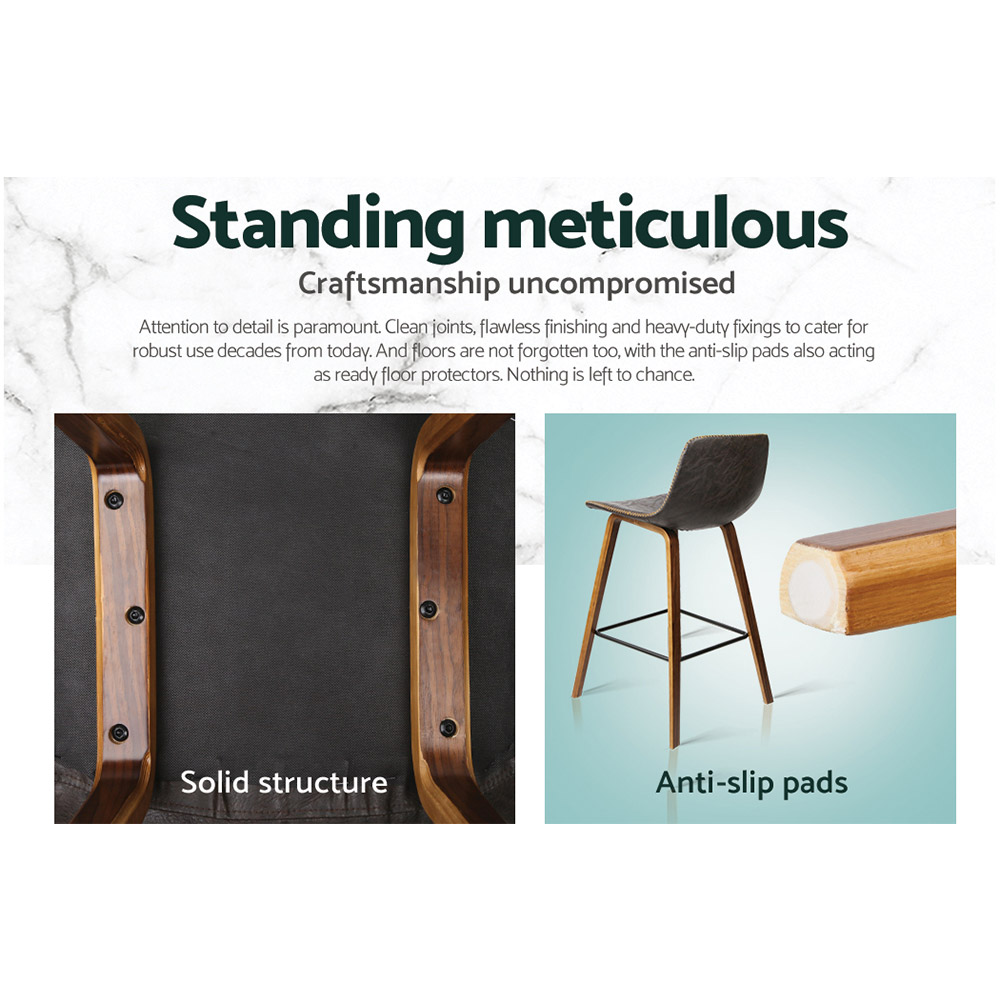 Artiss Set of 2 PU Leather Bar Stools Square Footrest - Wood and Brown