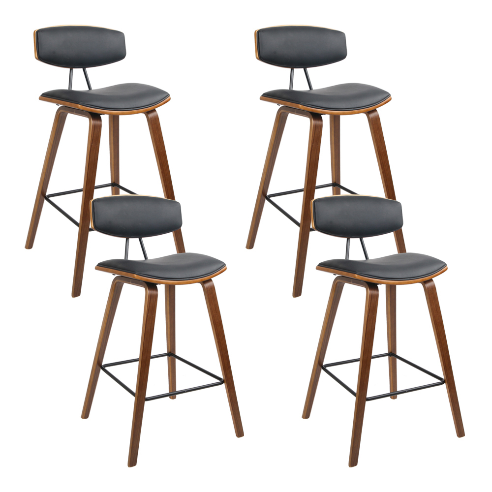 Artiss Set of 4 PU Leather Circular Footrest Bar Stools - Black