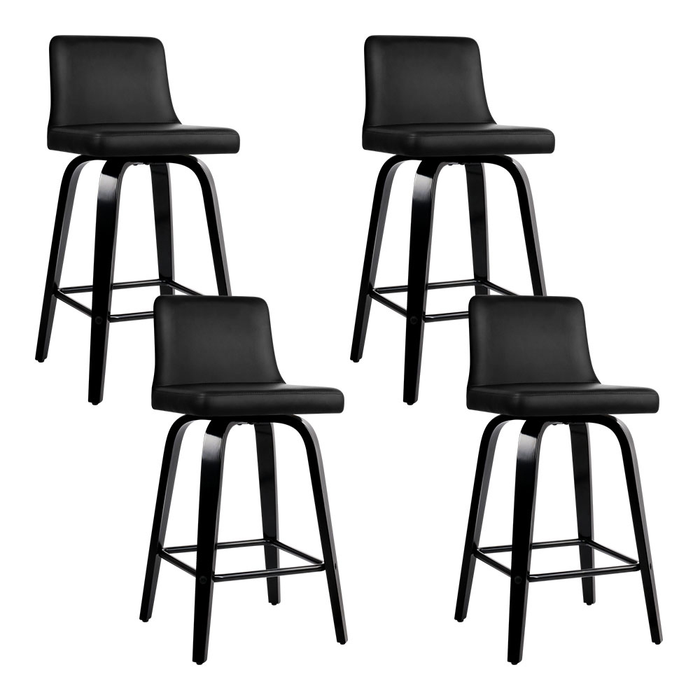 Artiss Set of 4 Wooden PU Leather Bar Stool - Black