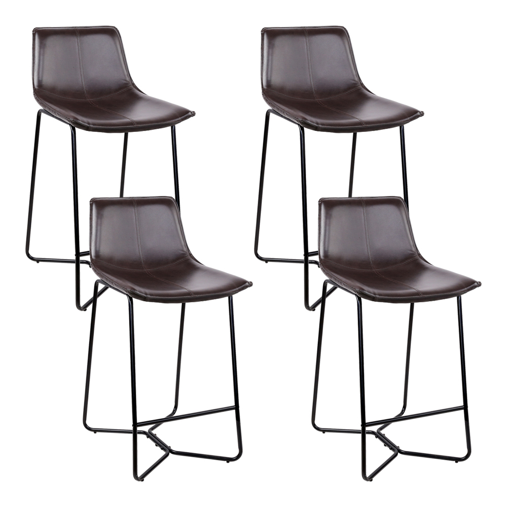 Artiss Set of 4 PU Leather Metal Bar Stools - Brown and Black