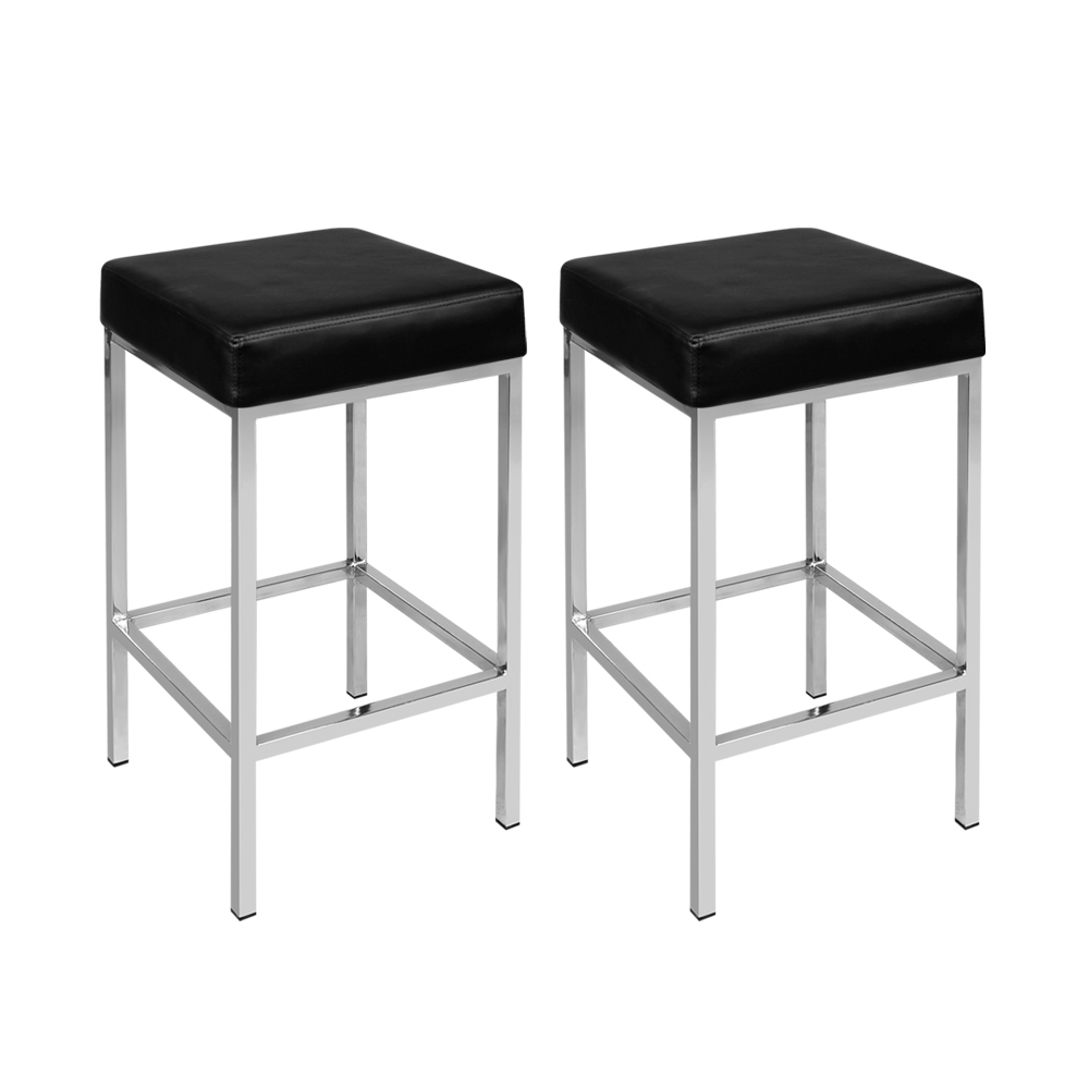 [Brand New] Artiss Set of 2 PU Leather Backless Bar Stools – Black Fast Free Shipping Australia Wide 2020