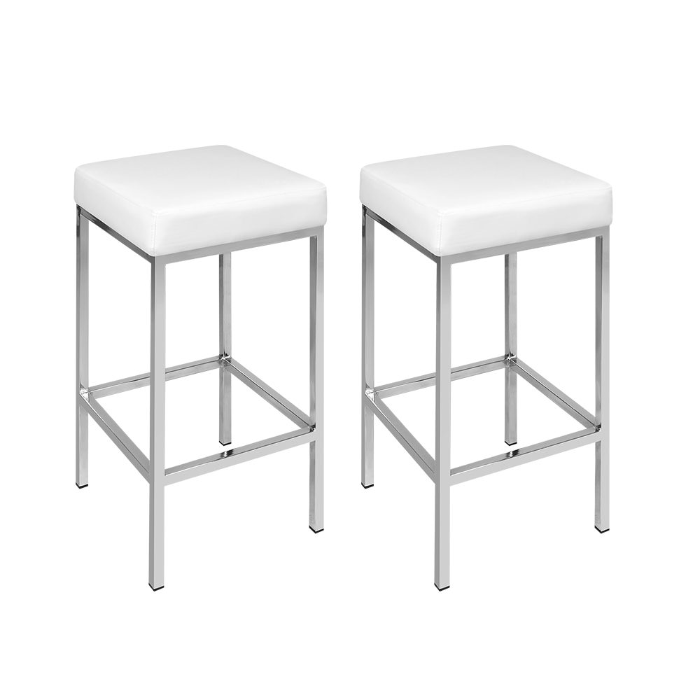 Brand New Artiss Set of 2 PU Leather Backless Bar Stools – White Fast Free Shipping