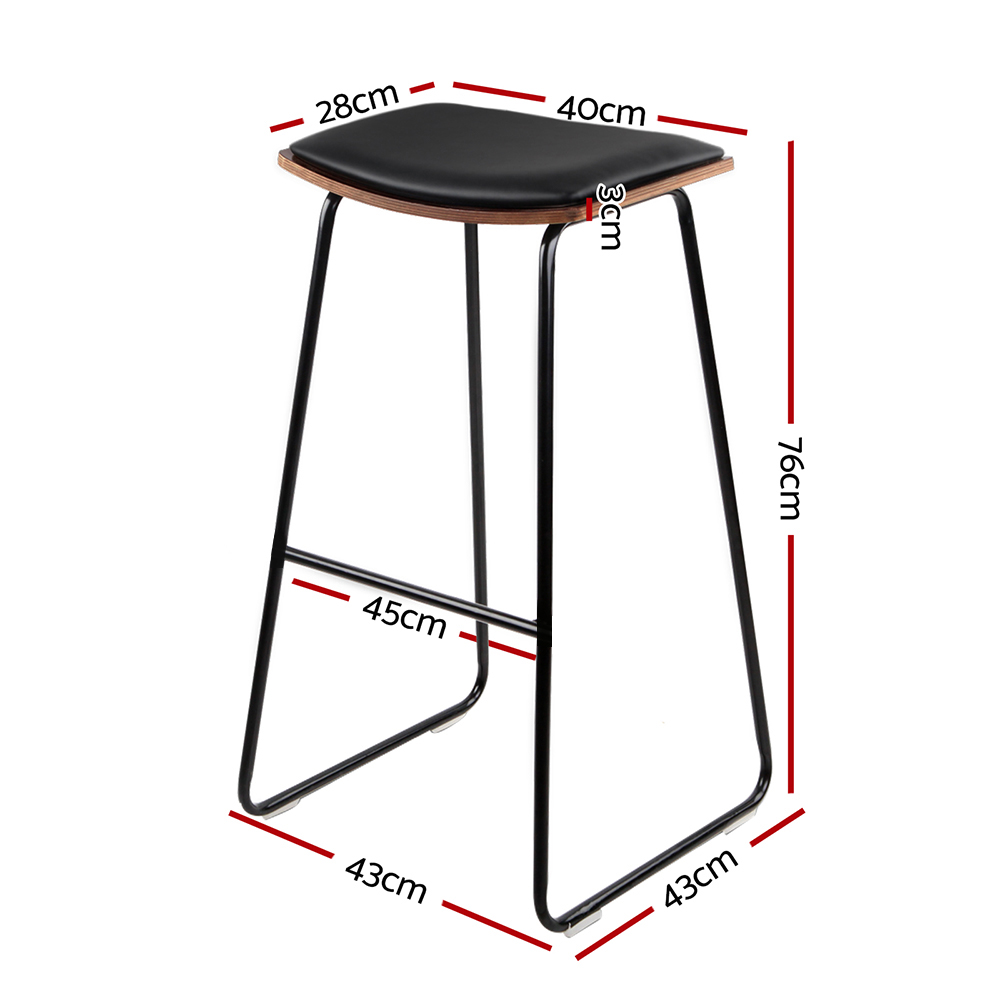 Brand New Artiss Set of 2 PU Leather Backless Bar Stools – Black Fast Free Shipping