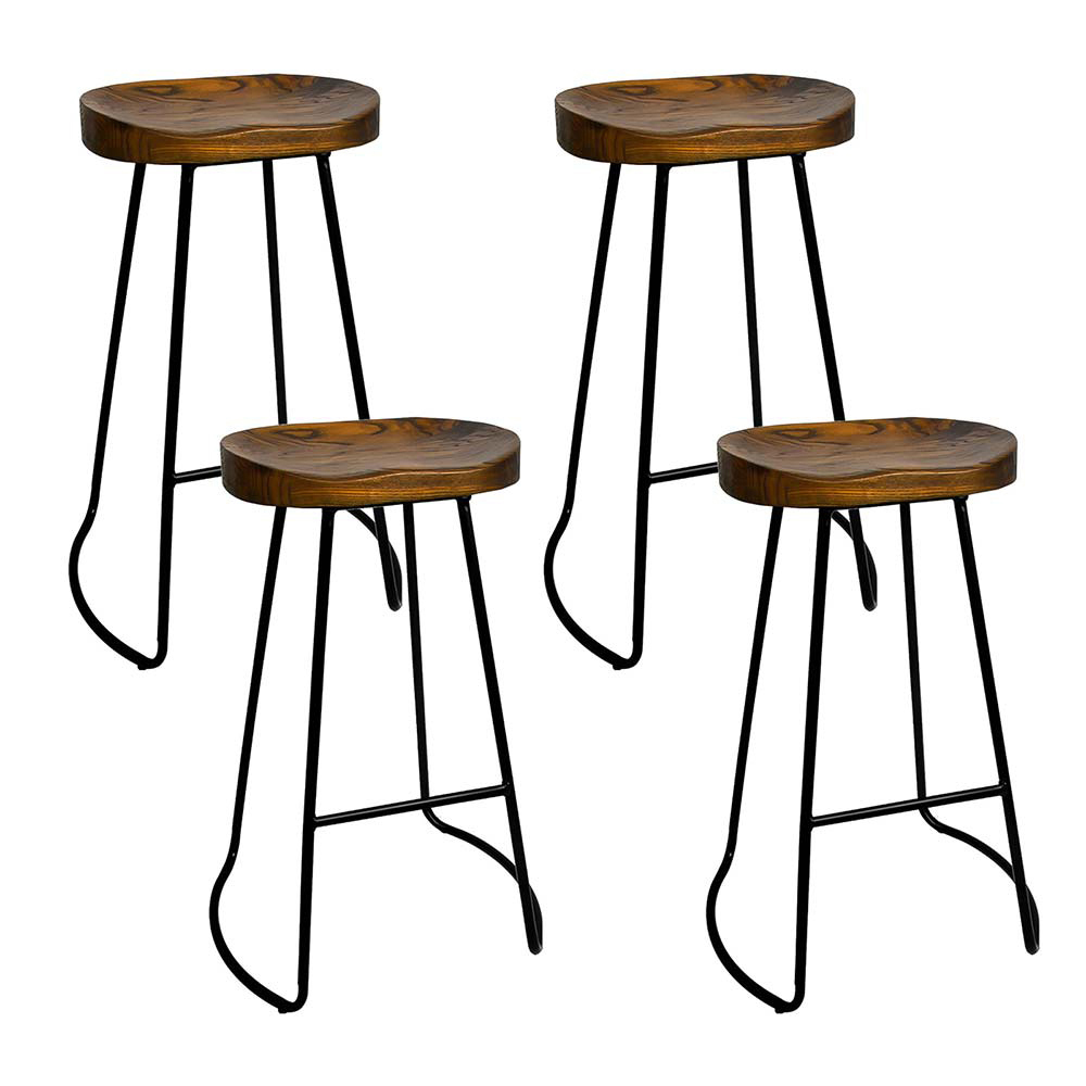 Artiss Set of 4 Elm Wood Backless Bar Stools 75cm - Black