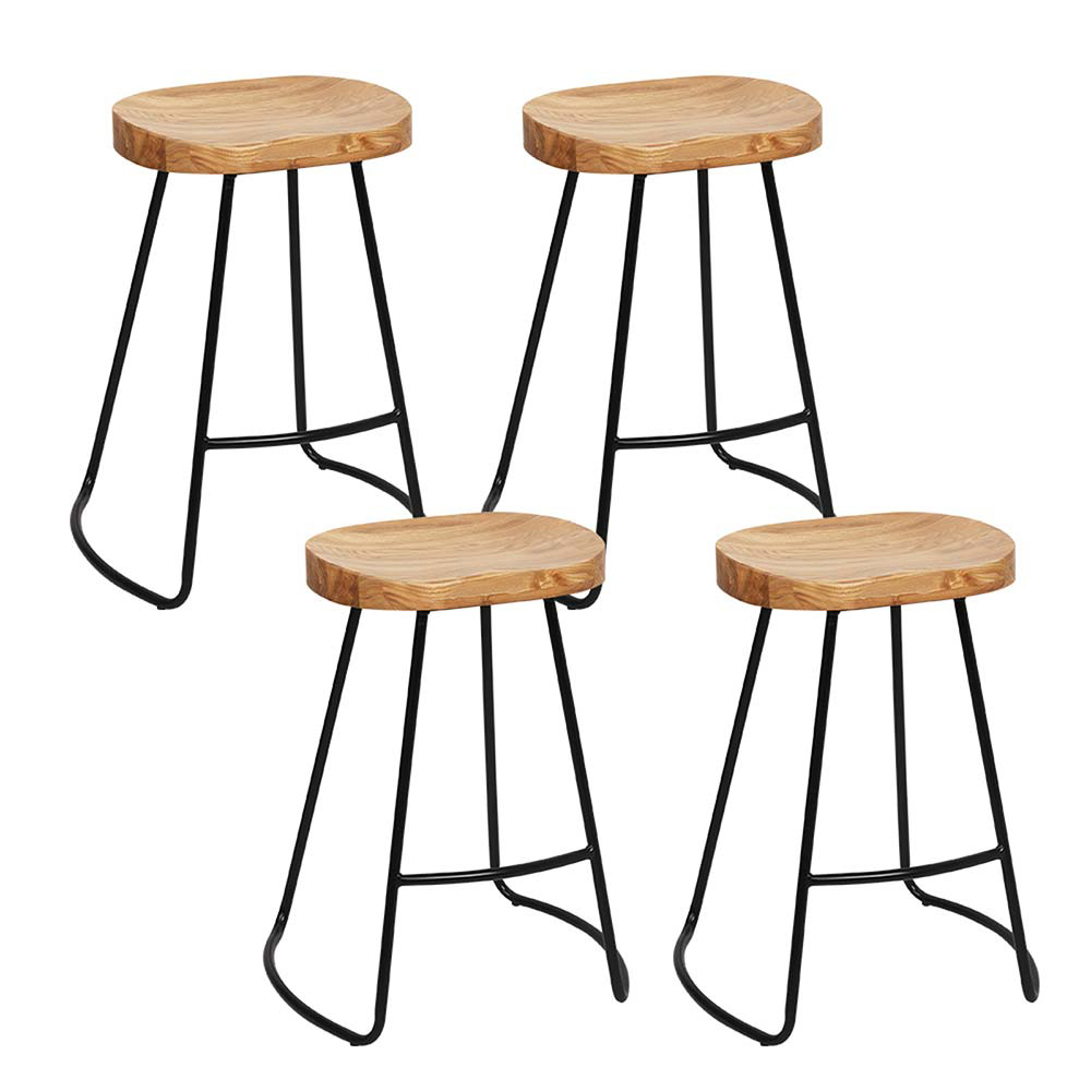 Artiss Set of 4 Elm Wood Backless Bar Stools 65cm - Black and Light Natural