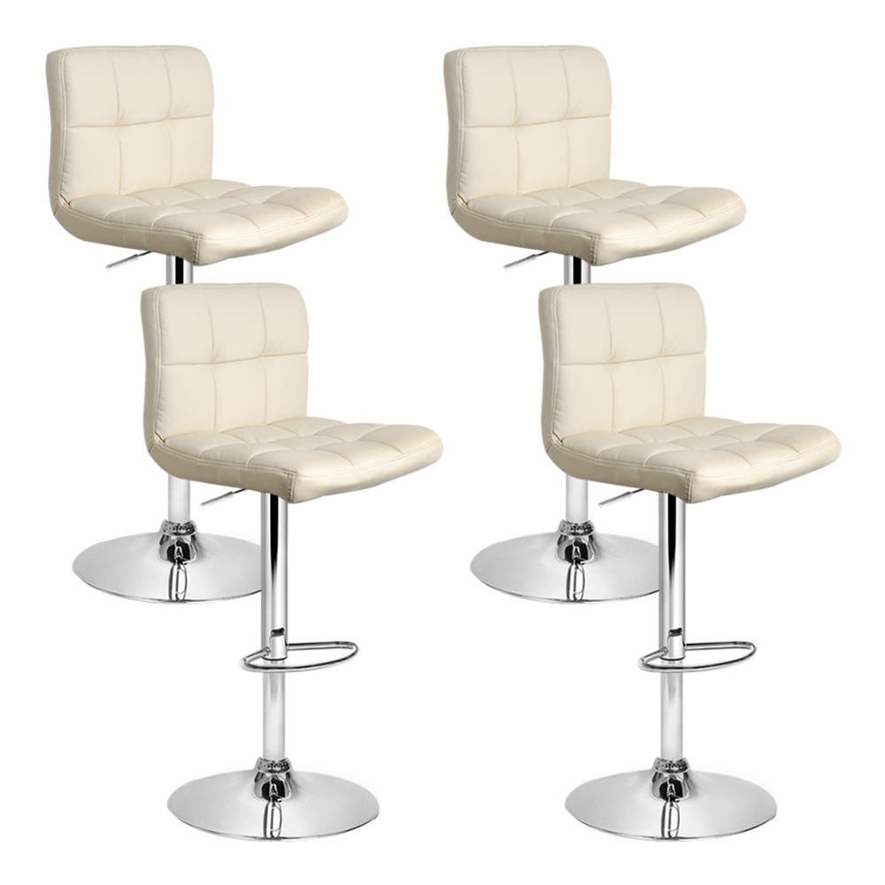 Artiss Set of 4 PU Leather Gas Lift Bar Stools - Beige