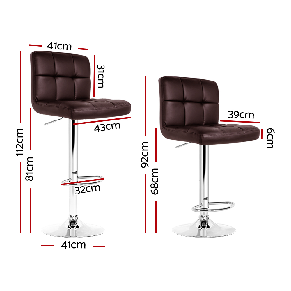 🥇 New Artiss 2x Gas Lift Bar Stools Swivel Chairs Leather Chrome Chocolate ⭐+ Fast Free Shipping 🚀