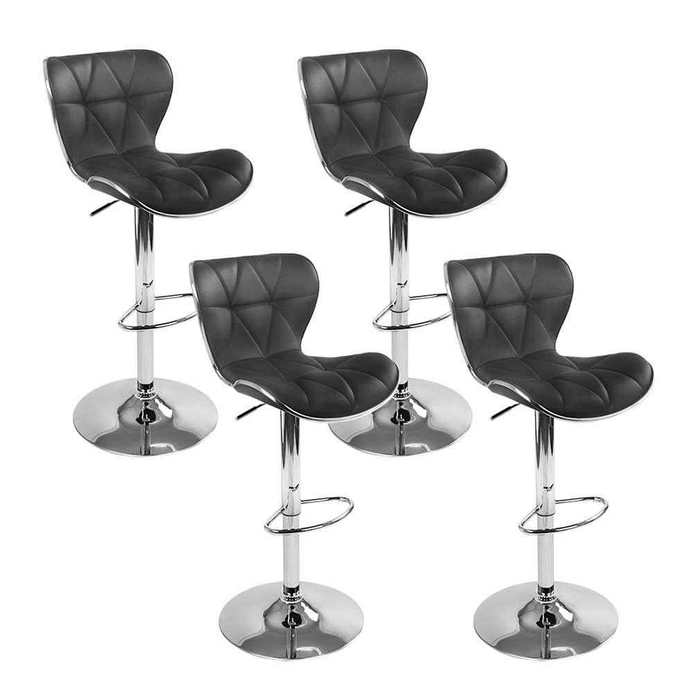 Artiss Set of 4 PU Leather Patterned Bar Stools - Black and Chrome