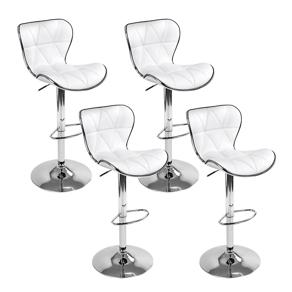 Artiss Set of 4 PU Leather Patterned Bar Stools - White and Chrome