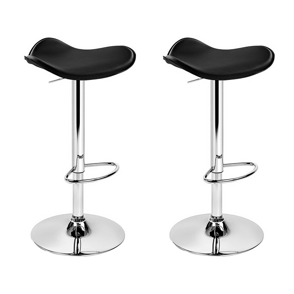 Brand New Artiss 2x Gas Lift Bar Stools Swivel Chairs Leather Chrome Black Fast Free Shipping