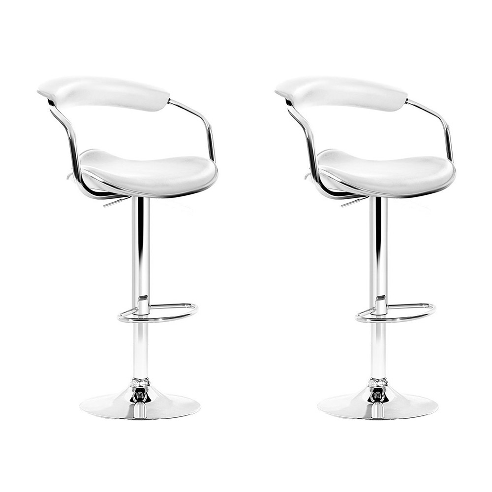 Brand New Artiss Set of 2 PU Leather Bar Stools – White Fast Free Shipping