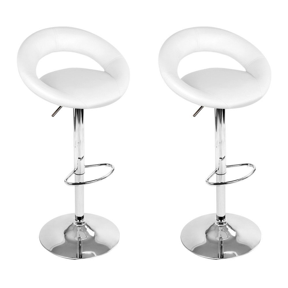 Brand New Artiss 2x Gas Lift Bar Stools Swivel Chairs Leather Chrome White Fast Free Shipping