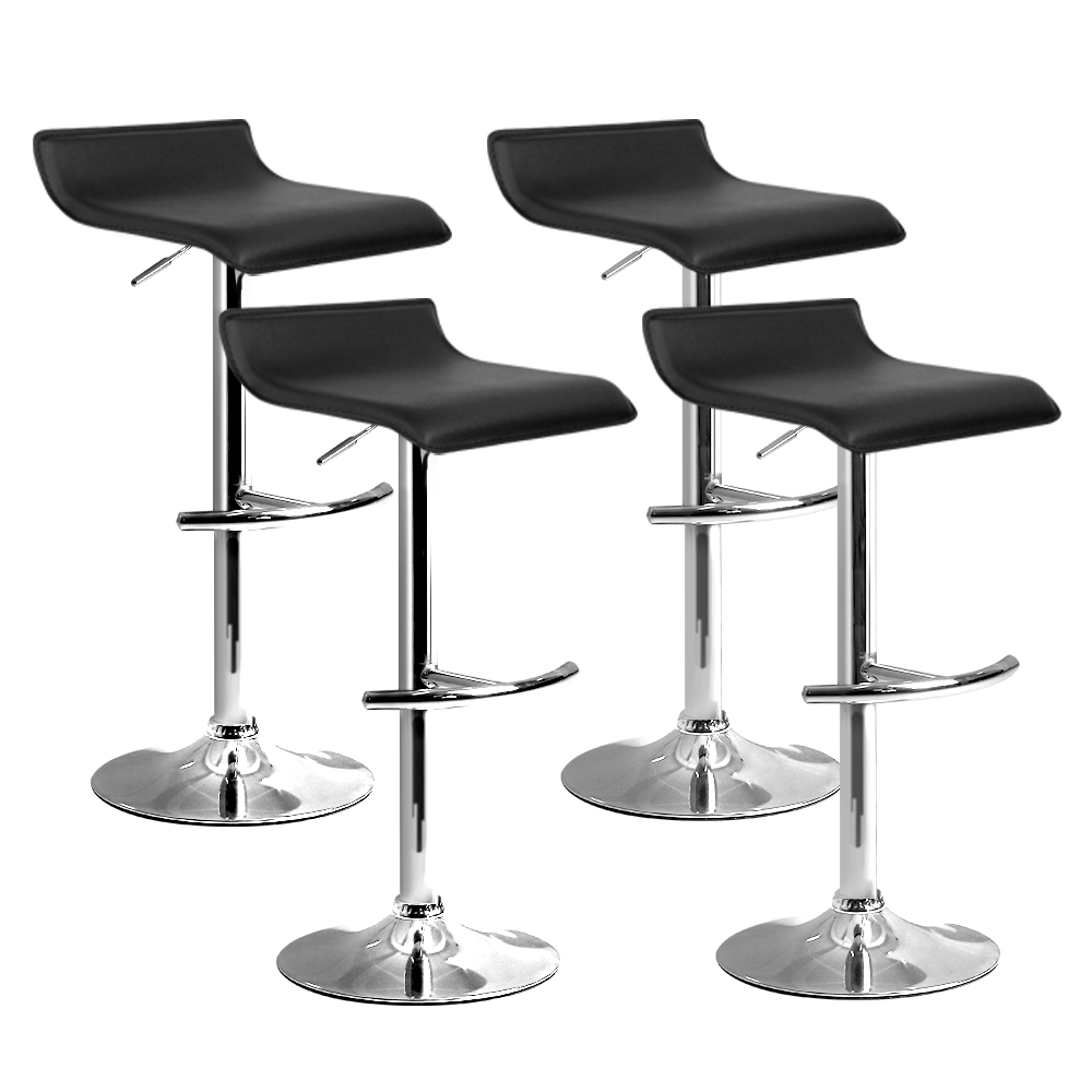 Artiss Set of 4 PU Leather Wave Style Bar Stools - Black