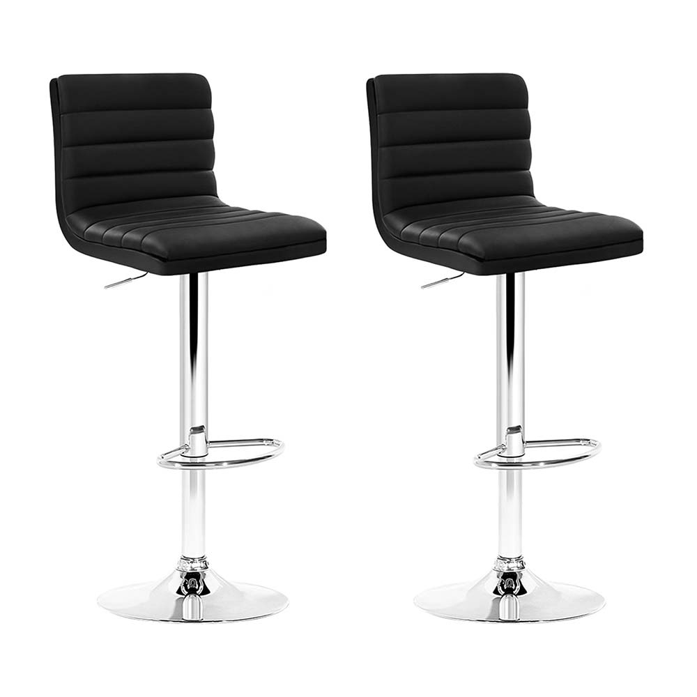 Brand New Artiss 2x Leather Bar Stools ARNE Swivel Bar Stool Kitchen Chairs Black Gas Lift Black Fast Free Shipping