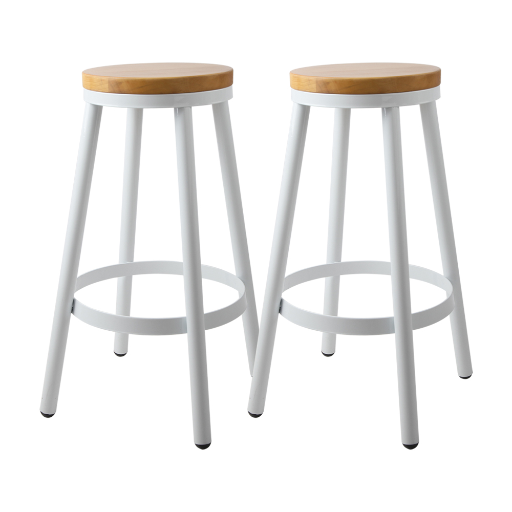 Artiss Set of 2 Wooden Stackable Bar Stools - White and Wood