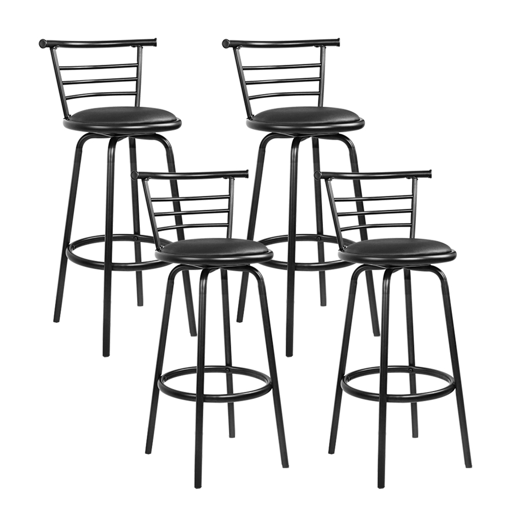 Artiss Set of 4 PU Leather Bar Stools - Black and Steel