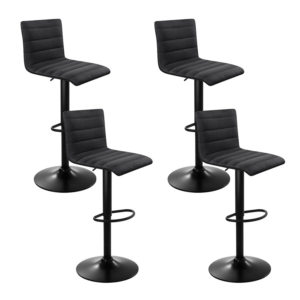 Artiss Set of 4 Faux Linen Bar Stools - Black