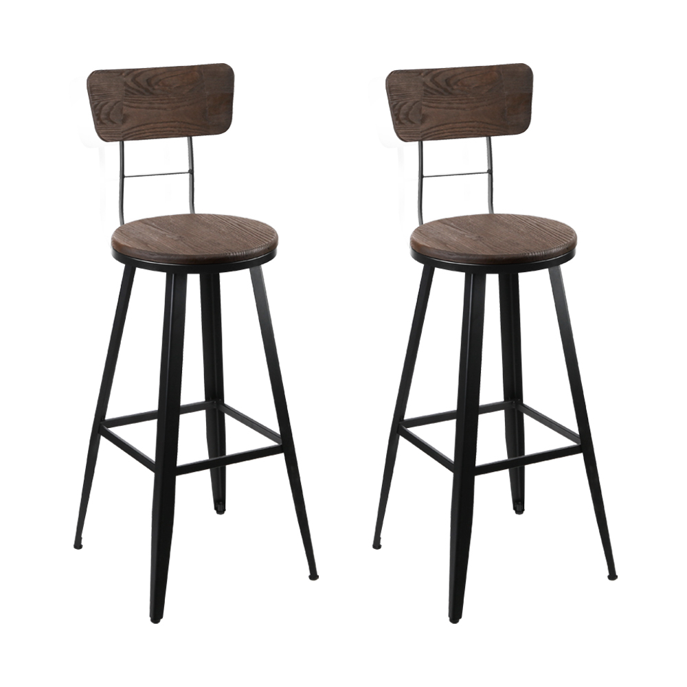 Artiss Set of 2 Industrial Style Swivel Bar Stools 66cm - Black