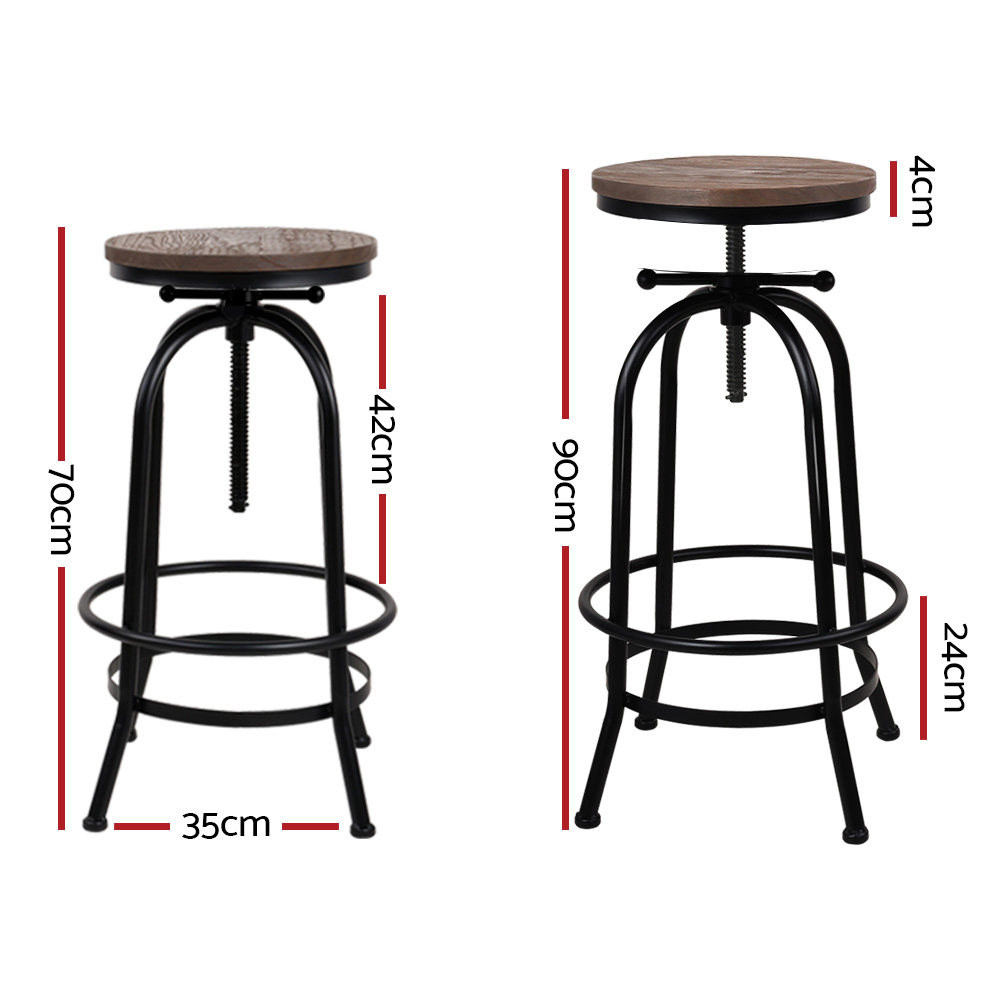 Artiss Set of 2 Bar Stool Industrial Round Seat Wood Metal - Black and Brown
