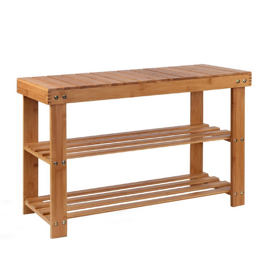 New Artiss Bamboo Shoe Rack Wooden Seat Bench Organiser Shelf Stool + Fast Free Shipping