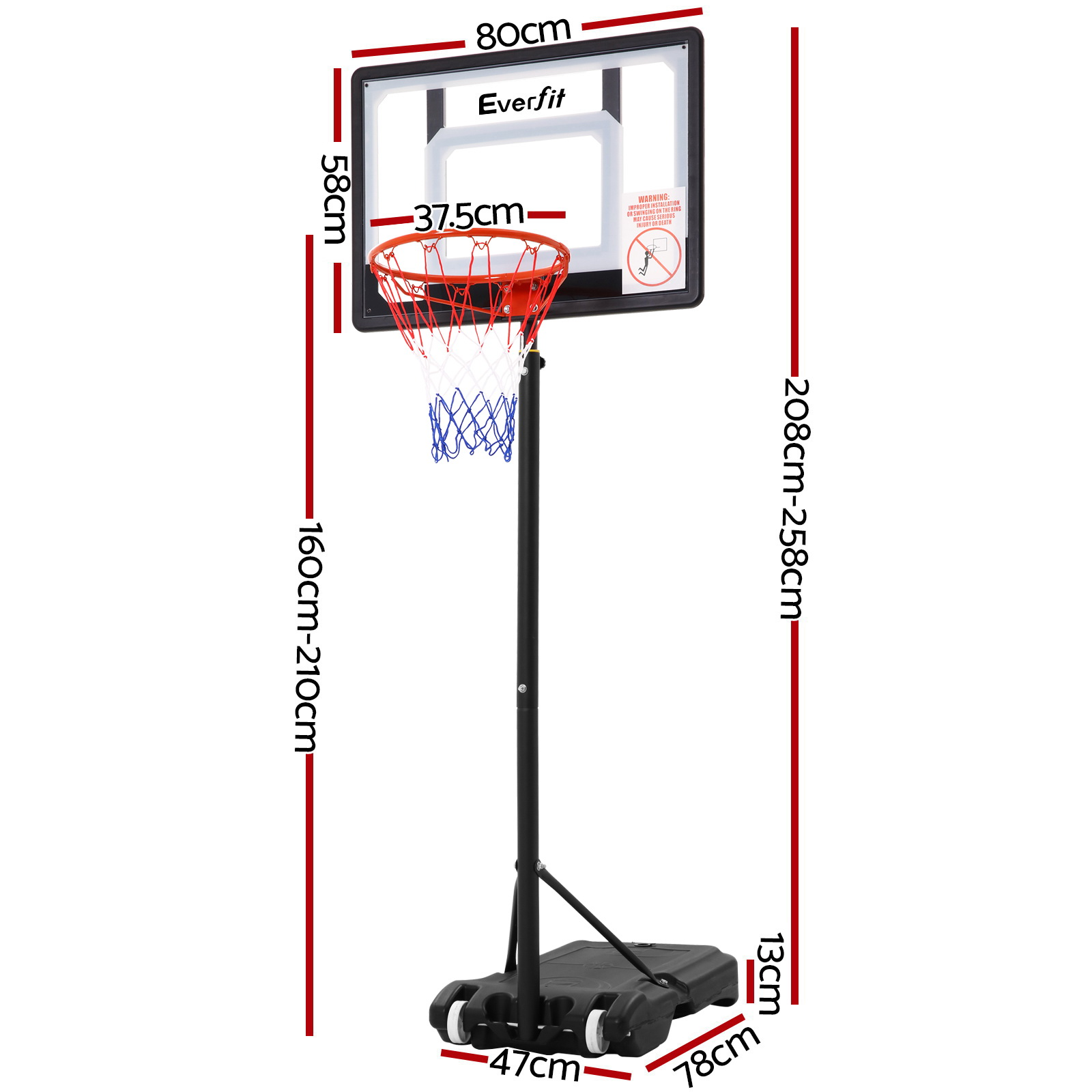 🥇 New Everfit Adjustable Portable Basketball Stand Hoop System Rim ⭐+ Fast Free Shipping 🚀
