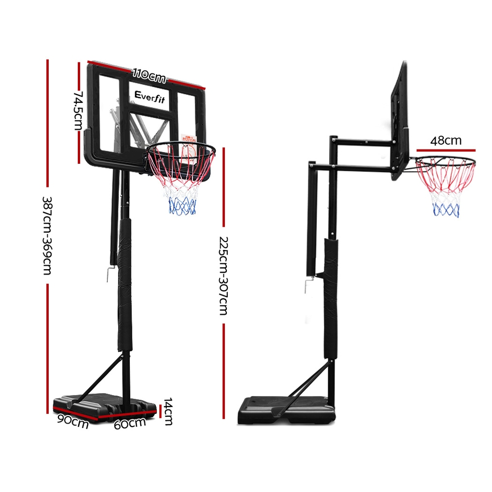 🥇 New Everfit 3.05M Basketball Hoop Stand System Ring Portable Net Height Adjustable Black ⭐+ Fast Free Shipping 🚀