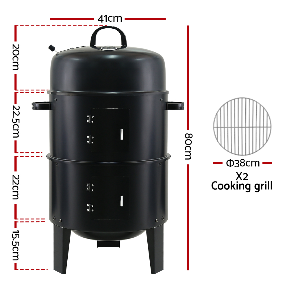 Brand New Grillz 3-in-1 Charcoal BBQ Smoker – Black Fast Free Shipping