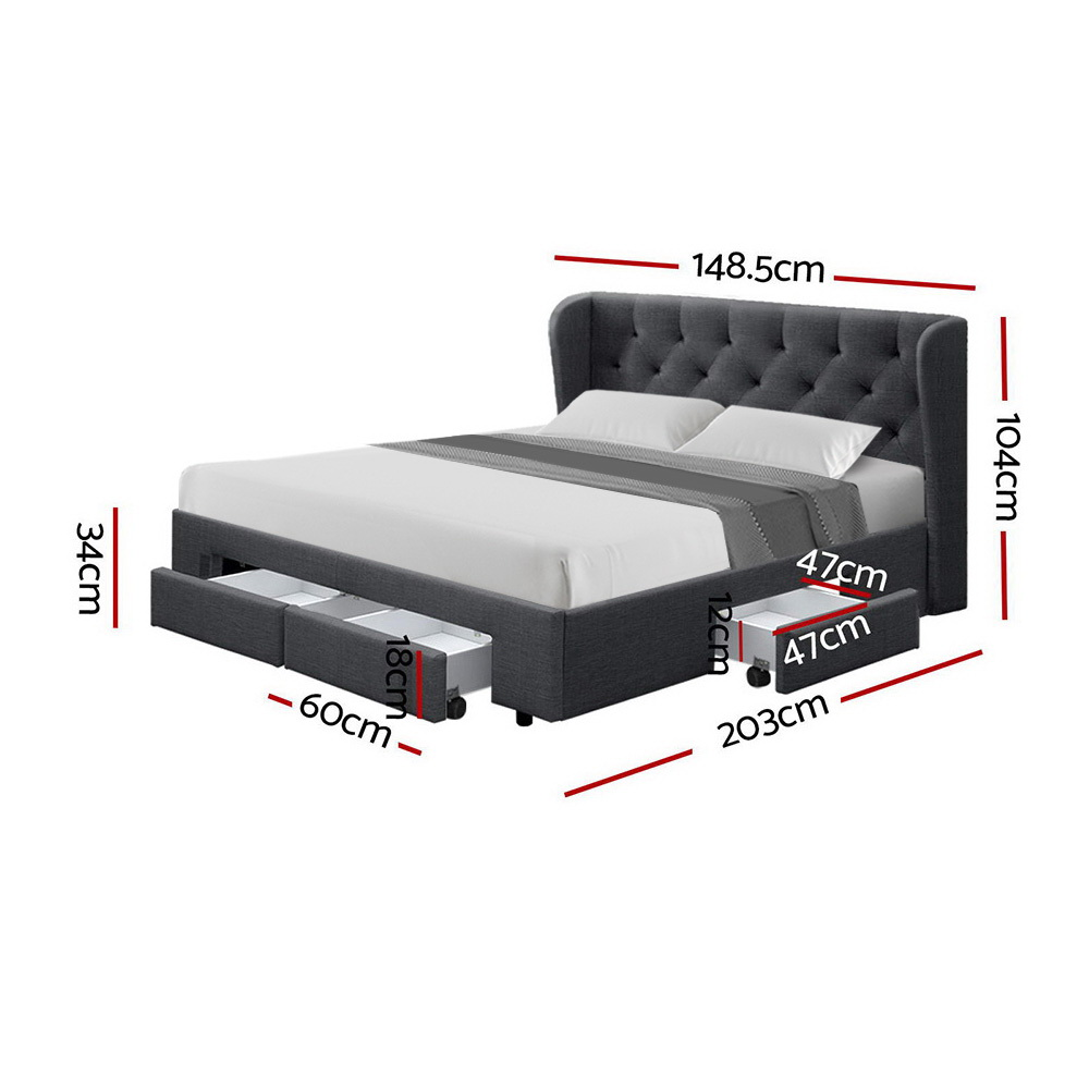 Artiss Double Full Size Bed Frame Base Mattress With Storage Drawer Charcoal Fabric MILA