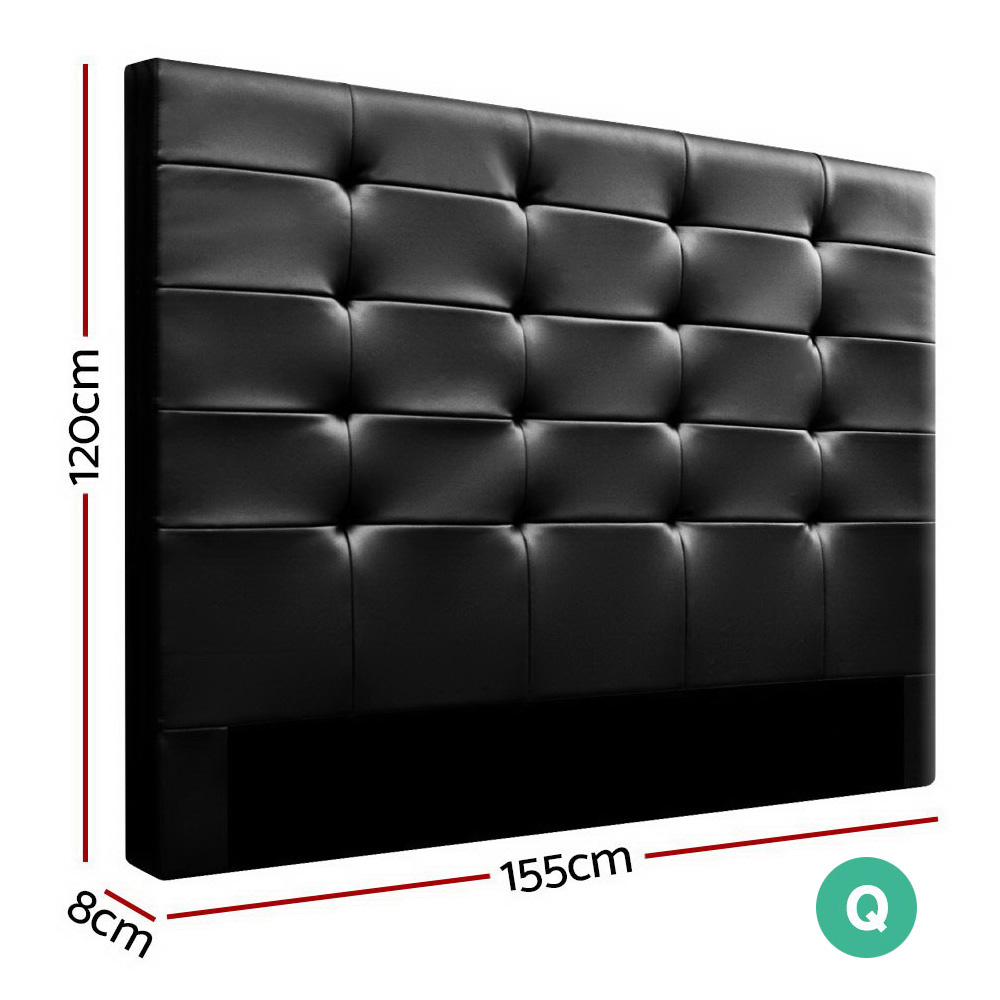 Queen Size Bed Headboard Bed Frame Head Bedhead Leather Frame Base BENO Black