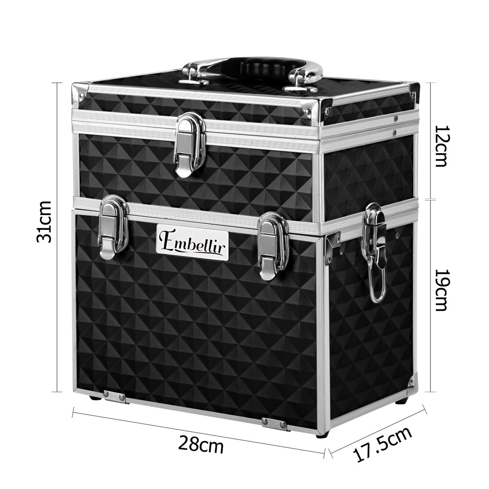 Brand New Embellir Portable Cosmetic Beauty Makeup Carry Case with Mirror – Diamond Black Fast Free Shipping