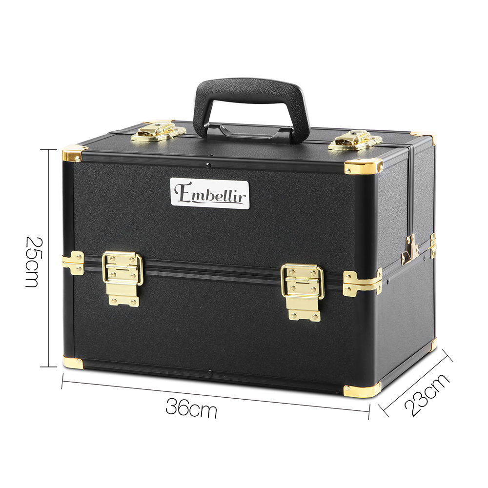 Brand New Embellir Portable Cosmetic Beauty Makeup Case – Black & Gold Fast Free Shipping