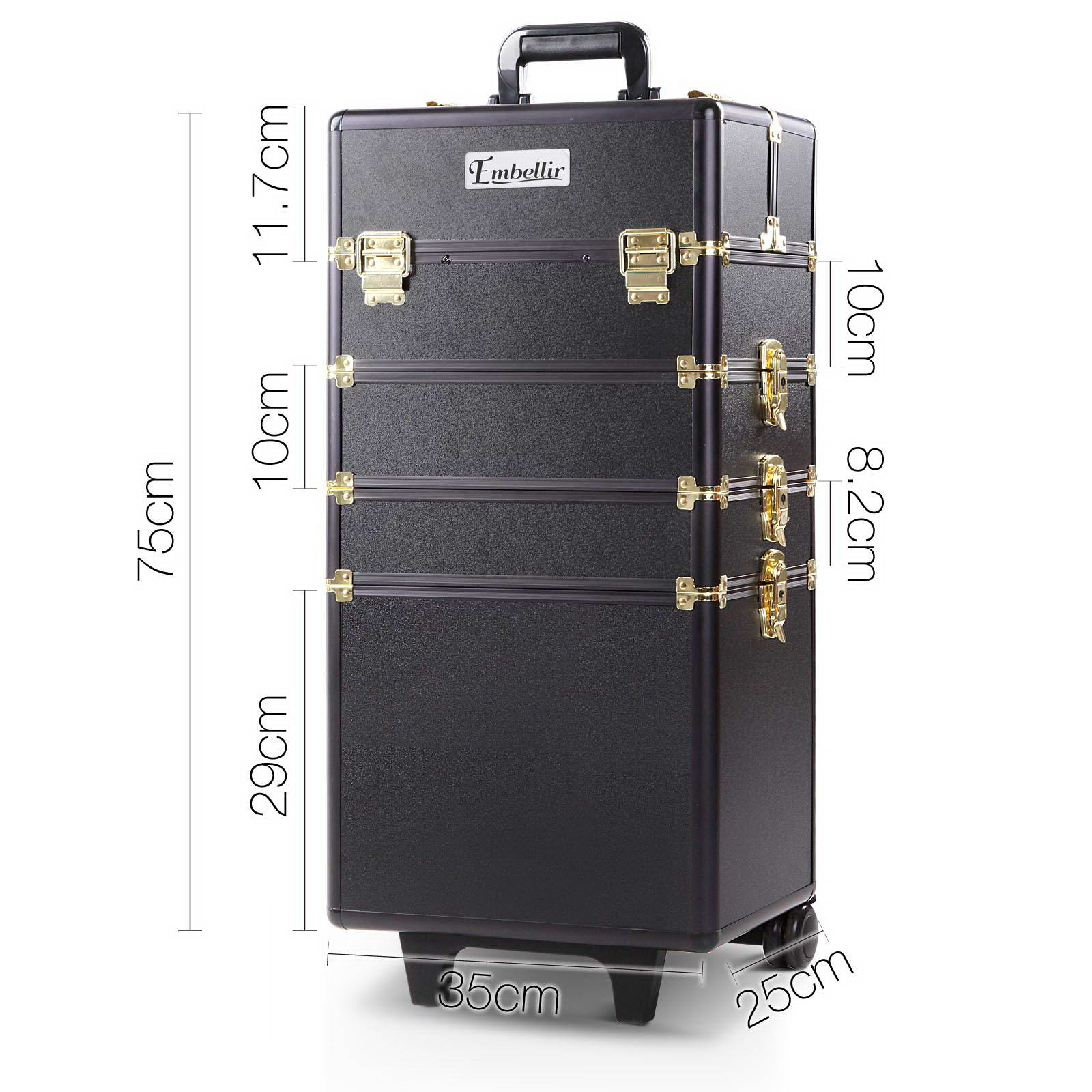 Brand New Embellir 7 in 1 Portable Cosmetic Beauty Makeup Trolley – Black & Gold Fast Free Shipping