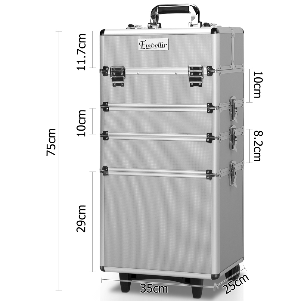 Brand New Embellir 7 in 1 Portable Cosmetic Beauty Makeup Trolley – Silver Fast Free Shipping