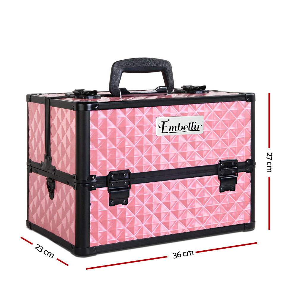 Brand New Embellir Portable Cosmetic Beauty Makeup Case with Mirror – Diamond Pink Fast Free Shipping