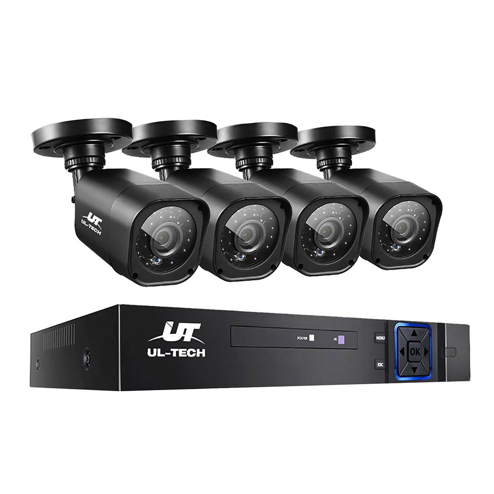 Brand New UL-TECH 8CH 5 IN 1 DVR CCTV Security System Video Recorder /w 4 Cameras 1080P HDMI Black Fast Free Shipping