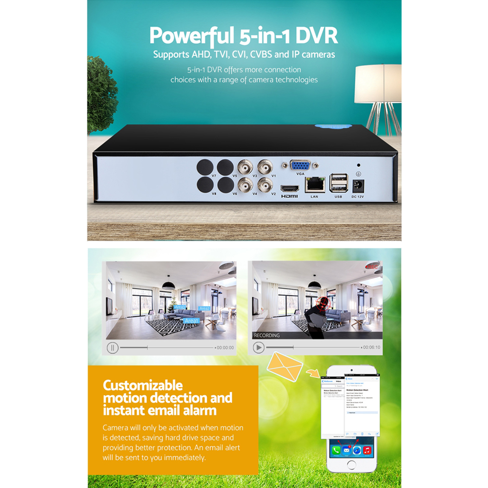 New UL-TECH 5 IN 1 4CH DVR Video Recorder CCTV Security System HDMI 1080P + Fast Free Shipping